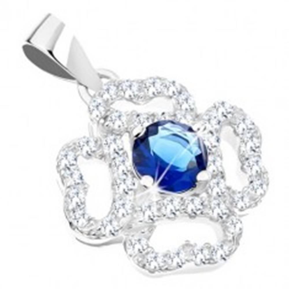 Šperky eshop Ródiovaný prívesok, striebro 925, kvet - číre zirkónové lupene, modrý stred