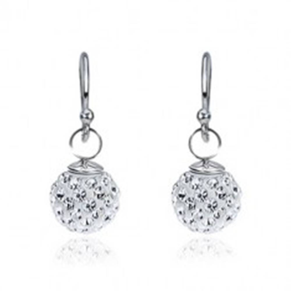Šperky eshop Strieborné náušnice 925, biele zirkónové guličky
