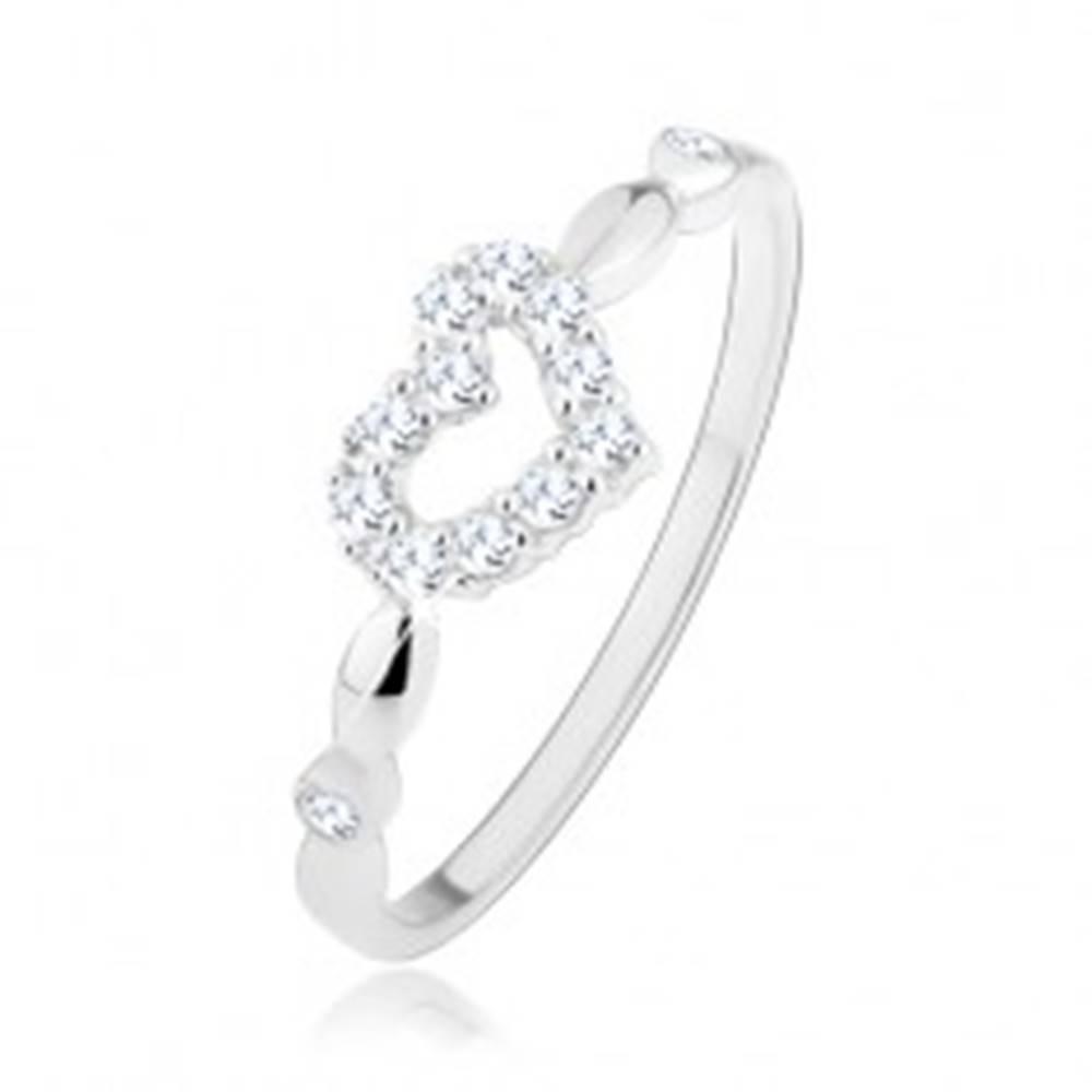 Šperky eshop Strieborný 925 prsteň, asymetrické trblietavé srdiečko - kontúra, zirkóniky - Veľkosť: 48 mm