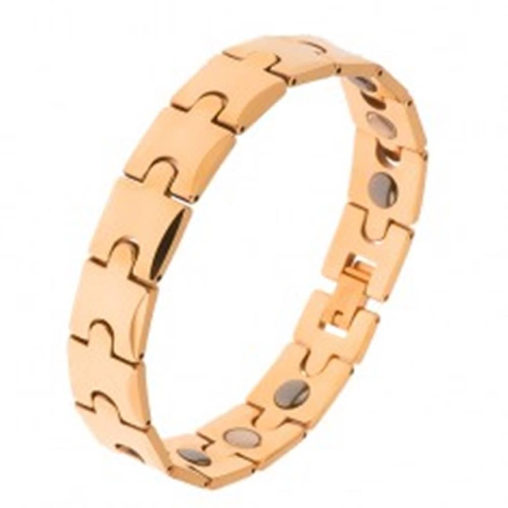 Šperky eshop Tungstenový náramok, zlatá farba, motív puzzle, magnetické guličky