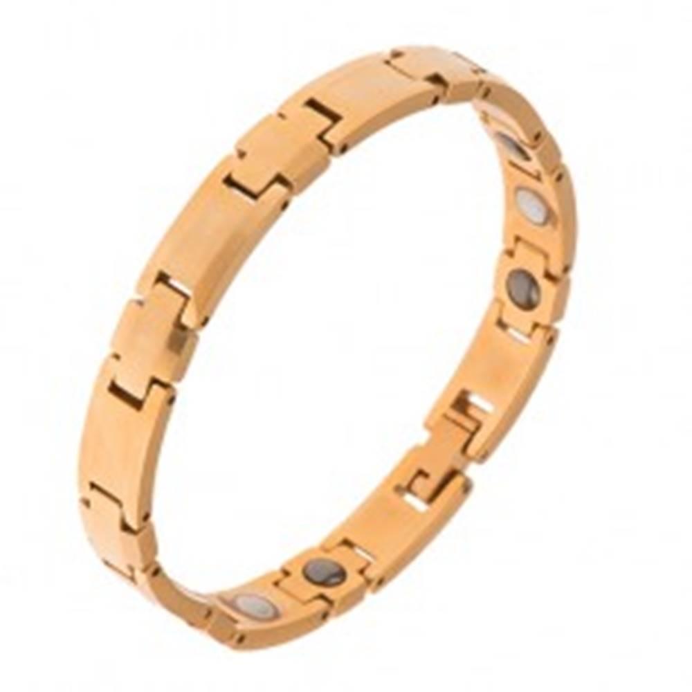 """Šperky eshop Volfrámový náramok, zlatá farba, články """"+"""", obdĺžniky, magnety"""