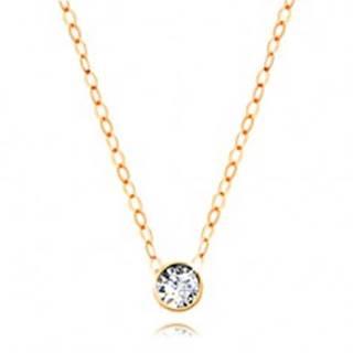 Diamantový náhrdelník zo žltého 14K zlata - číry briliant v objímke, tenká retiazka