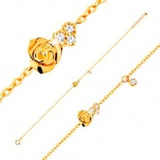 Náramok zo žltého 14K zlata - ružička a číre zirkónové srdce, 185 mm