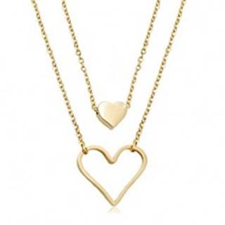 Oceľový náhrdelník zlatej farby, malé plné srdiečko, veľký obrys srdca, dve retiazky