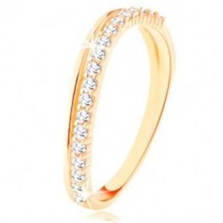 Prsteň zo žltého 9K zlata - hladká a číra zirkónová zvlnená línia - Veľkosť: 50 mm