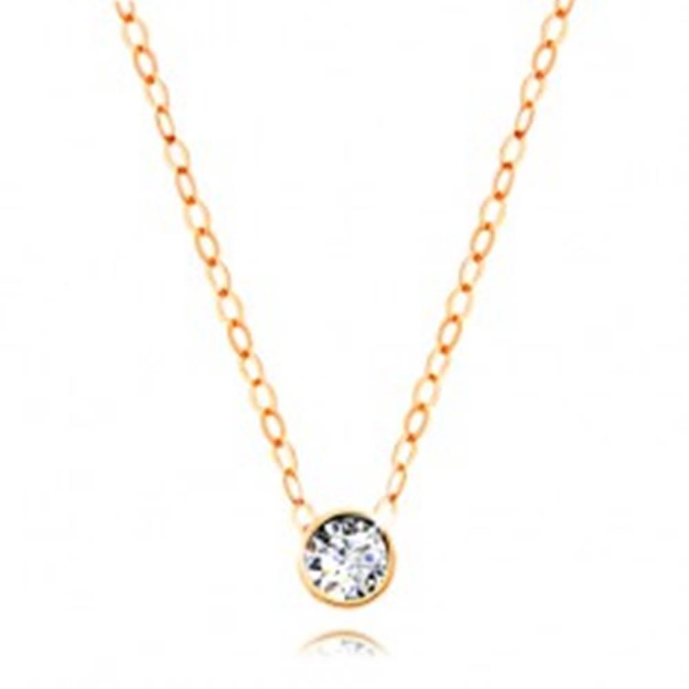 Šperky eshop Diamantový náhrdelník zo žltého 14K zlata - číry briliant v objímke, tenká retiazka