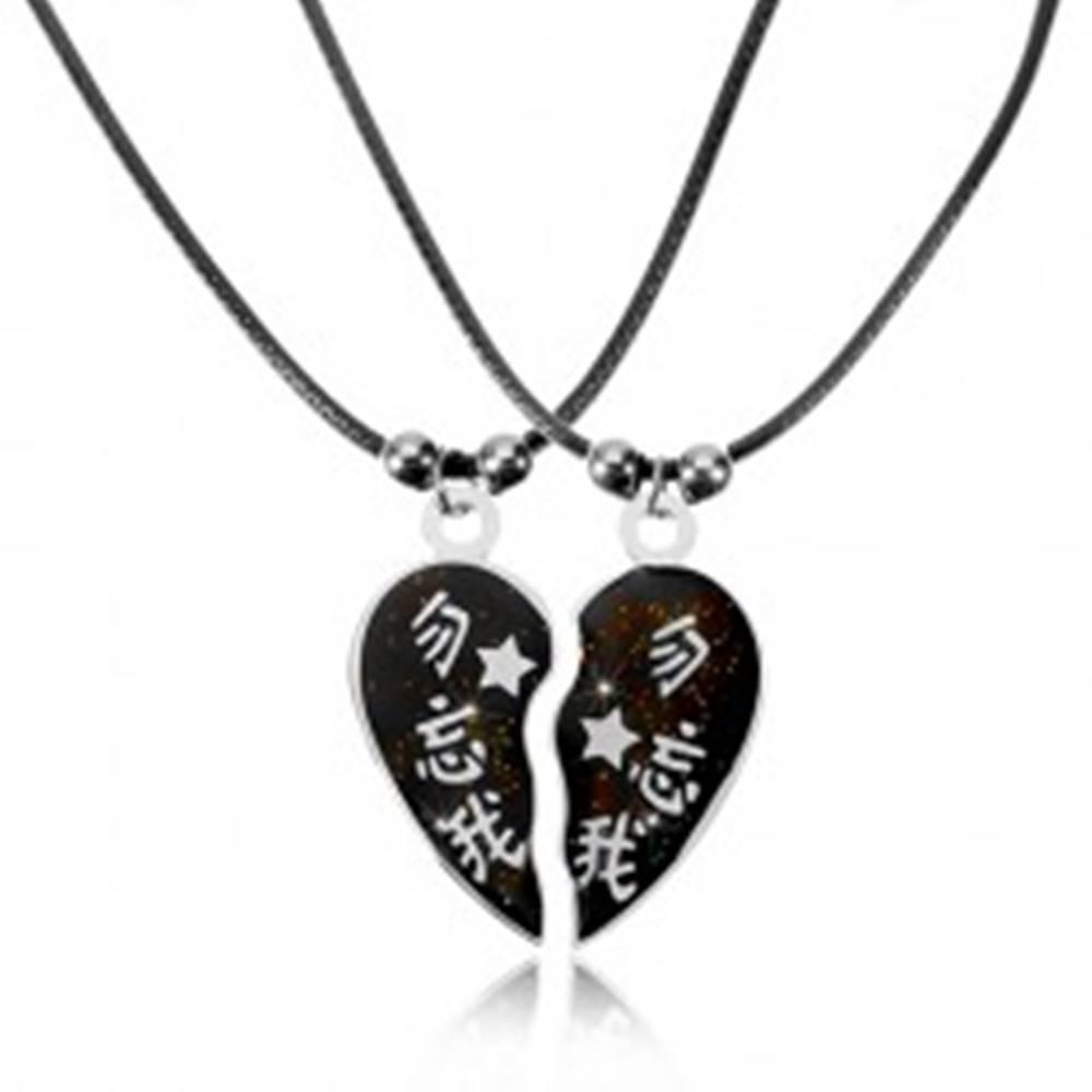 Šperky eshop Dva náhrdelníky pre zaľúbených s čínskymi znakmi, rozdelené srdiečko