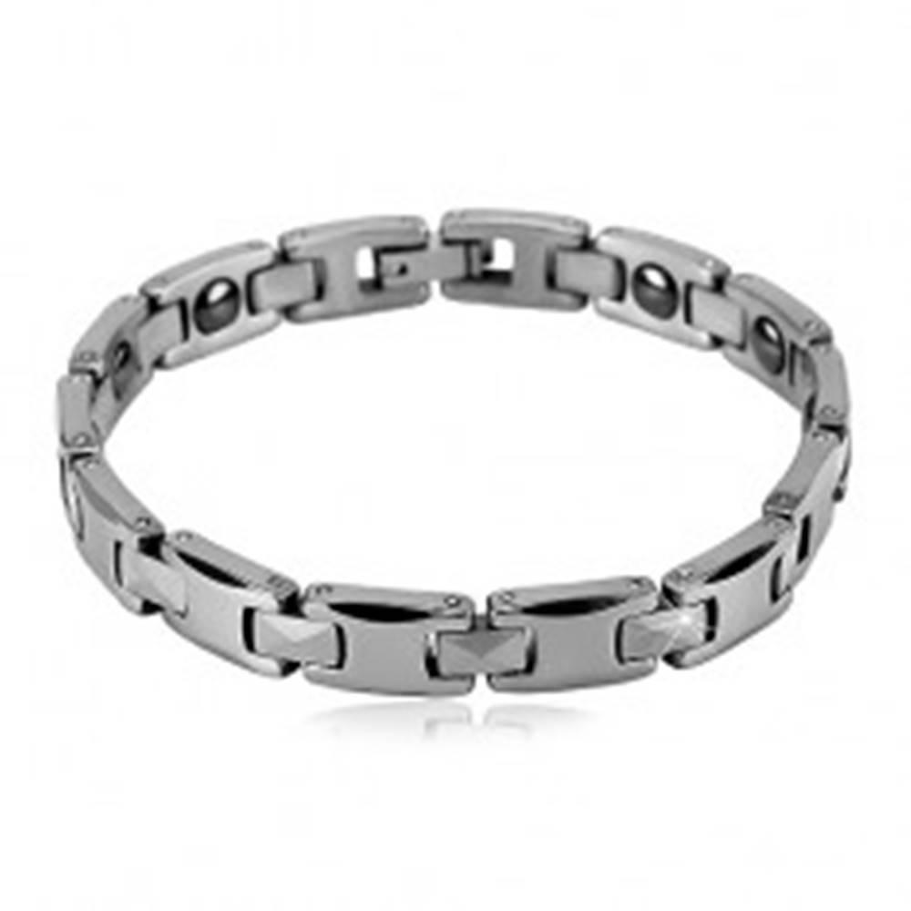 Šperky eshop Magnetický náramok z volfrámu striebornej farby - lesklé obdĺžnikové a H-články