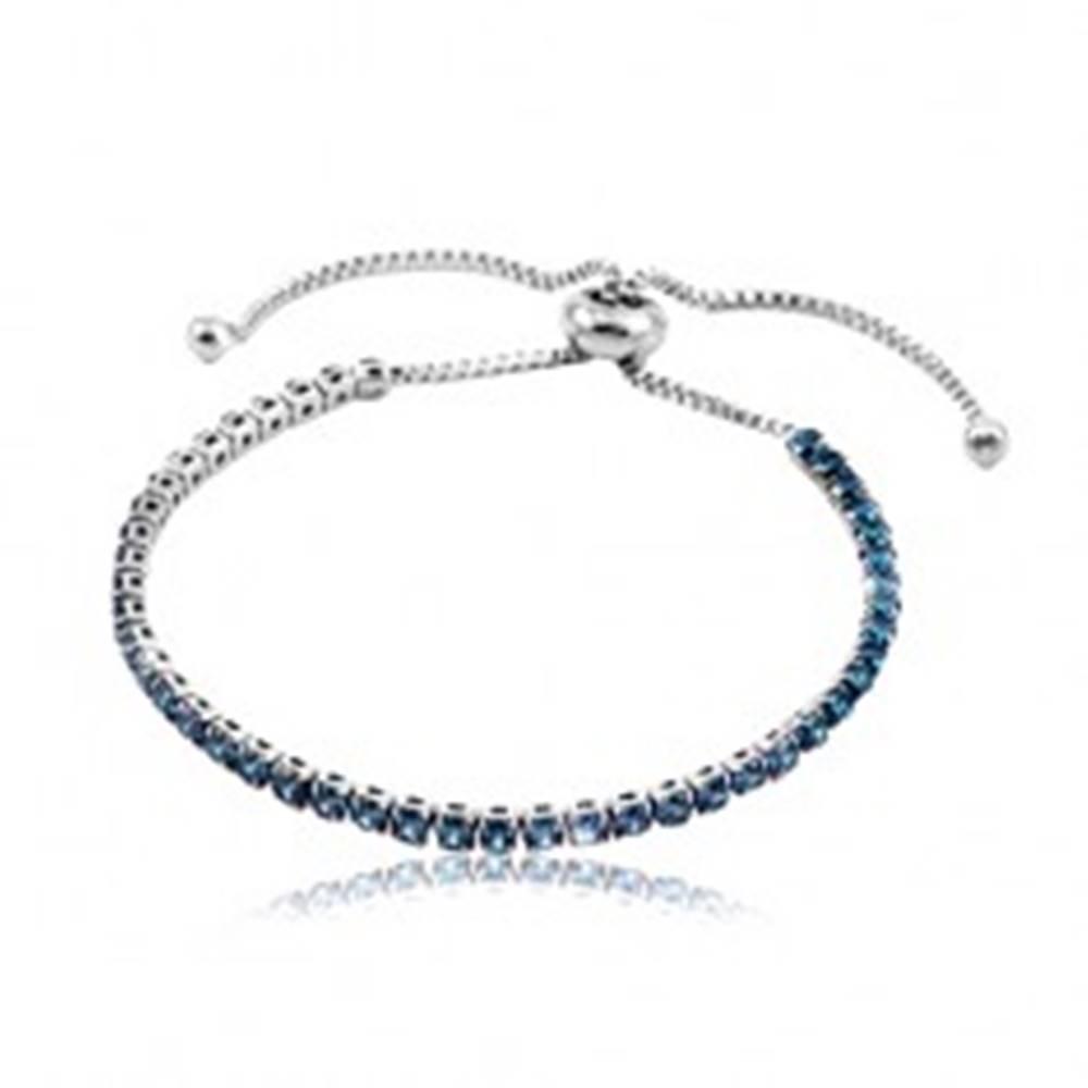 Šperky eshop Náramok z chirurgickej ocele, línia tmavomodrých okrúhlych zirkónov