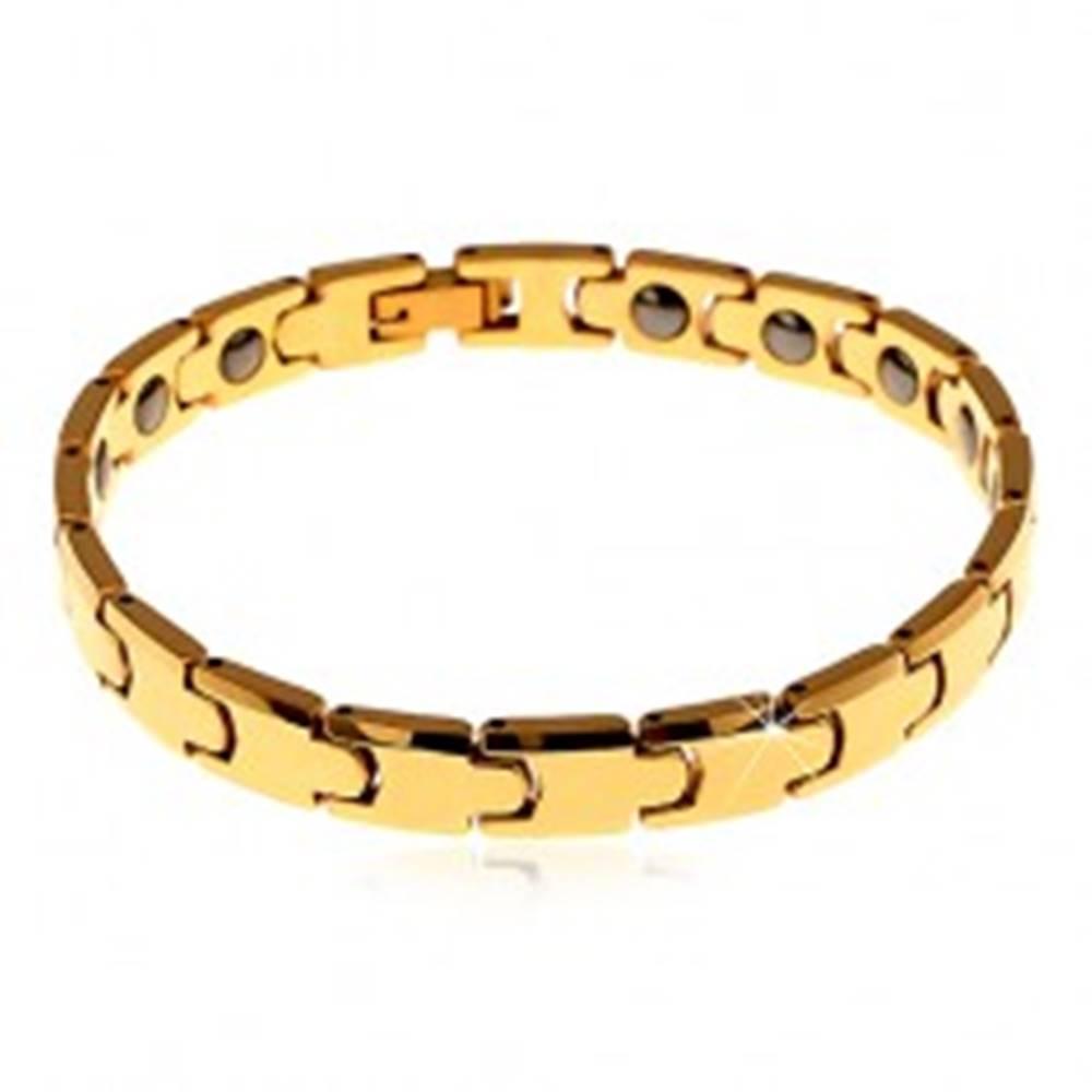 Šperky eshop Náramok z volfrámu zlatej farby, lesklé hladké články - Y, magnetické guličky