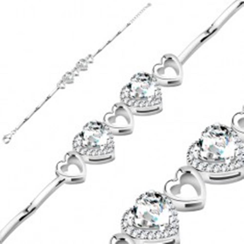 Šperky eshop Náramok zo striebra 925, číre zirkónové srdcia s ligotavým lemom a obrysy srdiečok