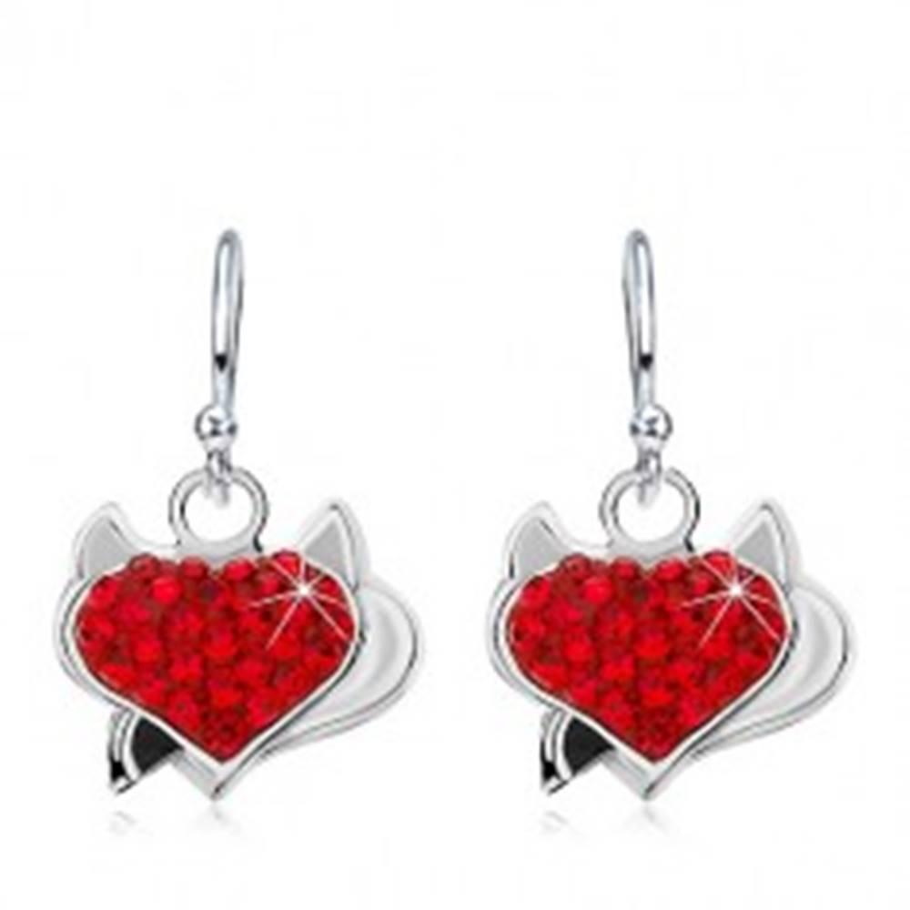 Šperky eshop Náušnice zo striebra 925, červené zirkónové srdce s rožkami a čiernym chvostom