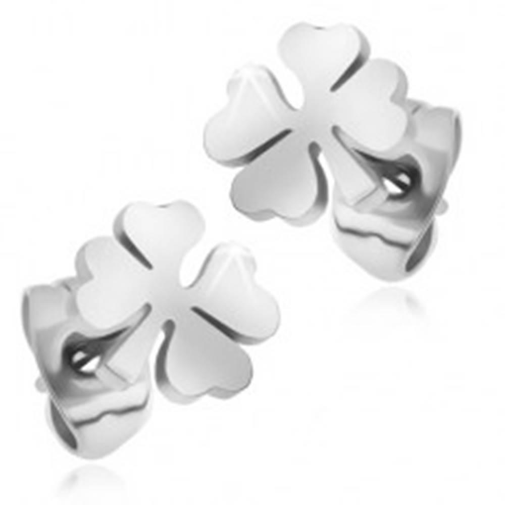 Šperky eshop Puzetové náušnice z ocele 316L, lesklý štvorlístok striebornej farby