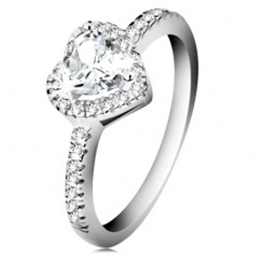 Šperky eshop Strieborný prsteň 925 - trblietavé srdce s čírym zirkónovým lemom - Veľkosť: 48 mm