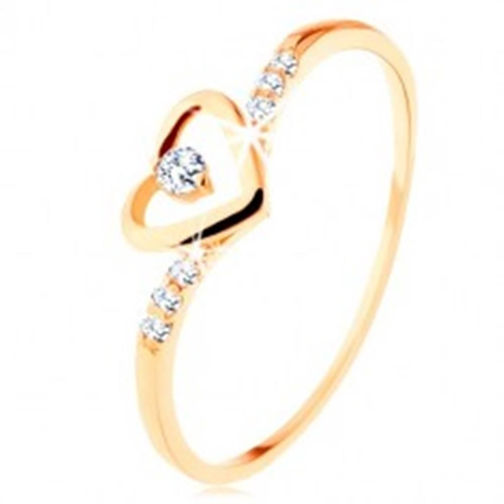 Šperky eshop Zlatý prsteň 375, kontúra srdca s čírym zirkónikom, zdobené ramená - Veľkosť: 49 mm