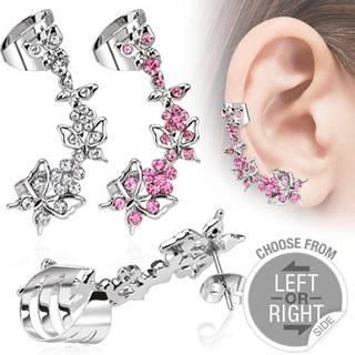 Falošný piercing do ucha z ocele - motýle a kvety so zirkónmi - Farba zirkónu: Číra - C, Tvar: Ľavý