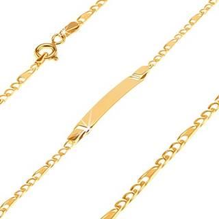 Náramok v žltom 14K zlate s platničkou - tri očká a článok s mriežkou, 180 mm