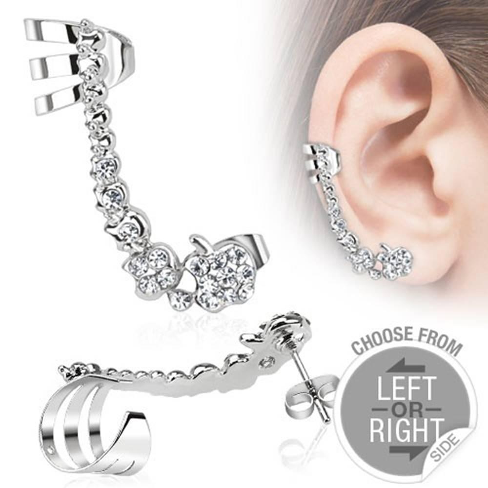 Šperky eshop Falošný piercing do ucha z ocele, línia čírych zirkónových jabĺčok - Tvar: Ľavý