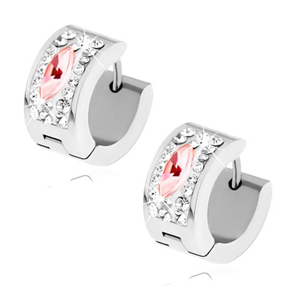 Šperky eshop Lesklé náušnice z ocele striebornej farby, číre zirkóny, ružový ovál