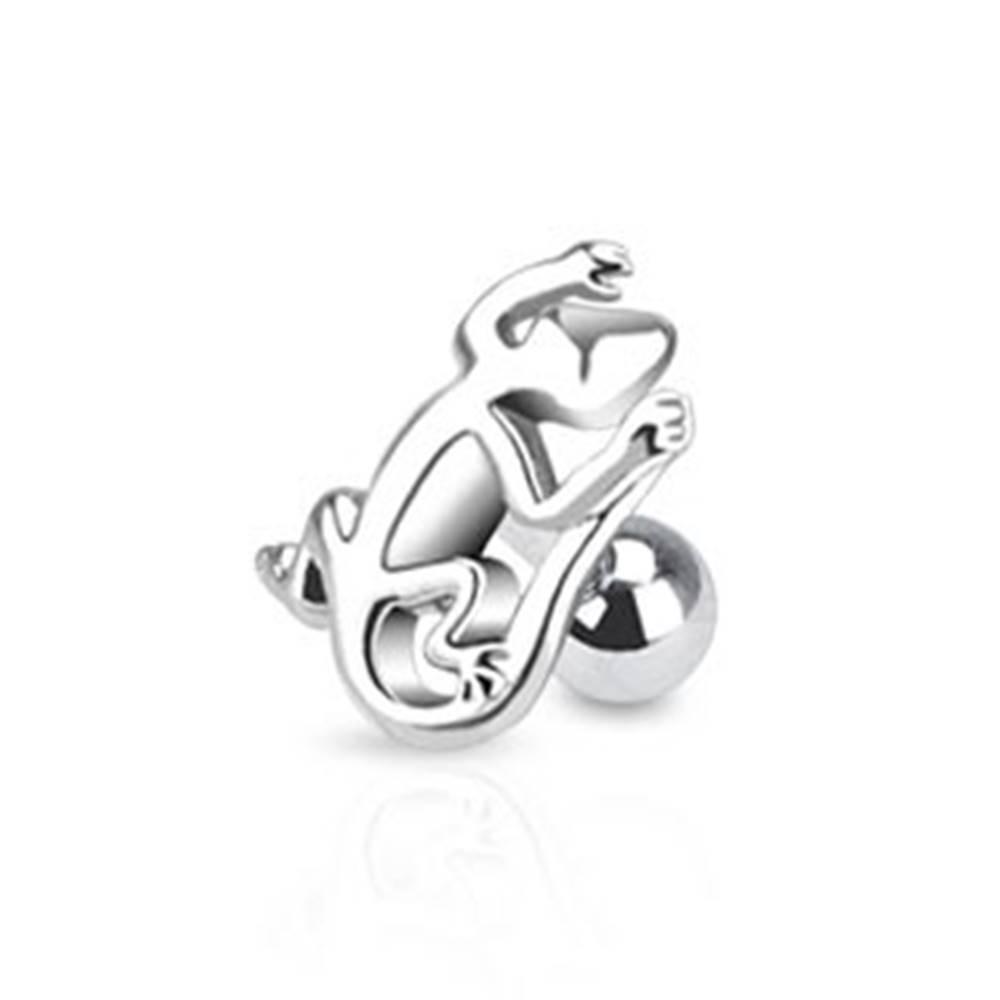 Šperky eshop Lesklý oceľový piercing do tragusu s jašteričkou