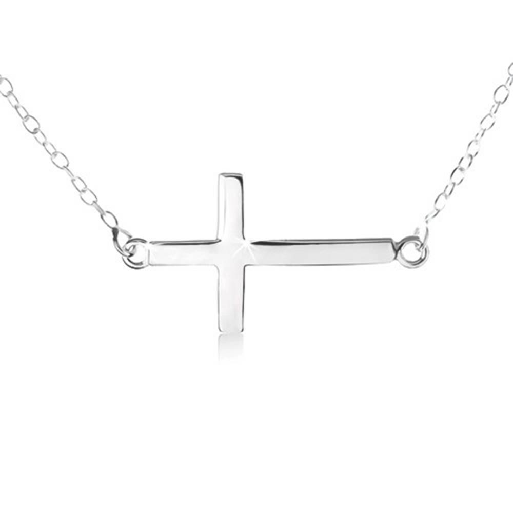 Šperky eshop Náhrdelník zo striebra 925, jemná retiazka, prívesok plochého, lesklého kríža