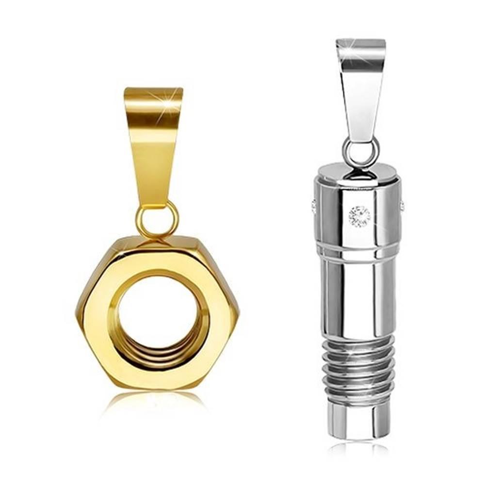 Šperky eshop Oceľový dvojprívesok v striebornom a zlatom odtieni, skrutka a matica, zirkóny