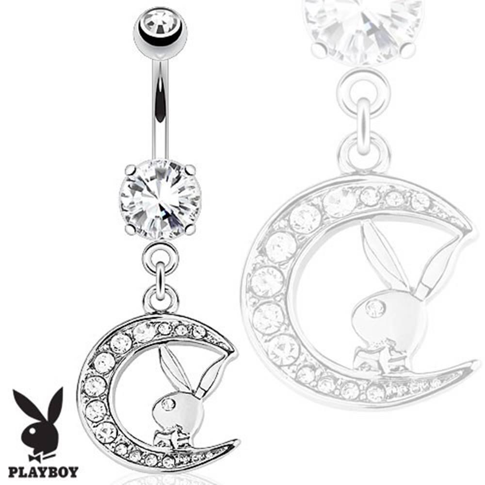 Šperky eshop Oceľový piercing do pupku, číry zirkónový mesiac, zajac Playboy