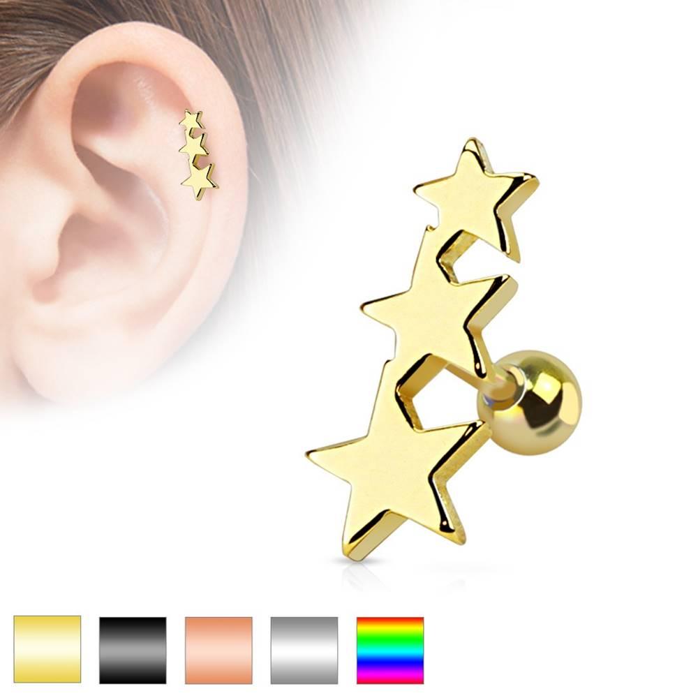 Šperky eshop Piercing do tragusu z chirurgickej ocele - tri spojené hviezdy, gulička, rôzne farby - Farba piercing: Čierna