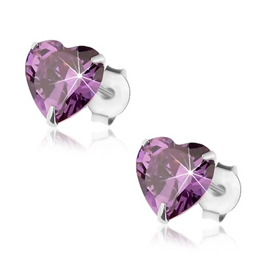 Šperky eshop Puzetové náušnice, striebro 925, srdcový zirkónik fialovej farby