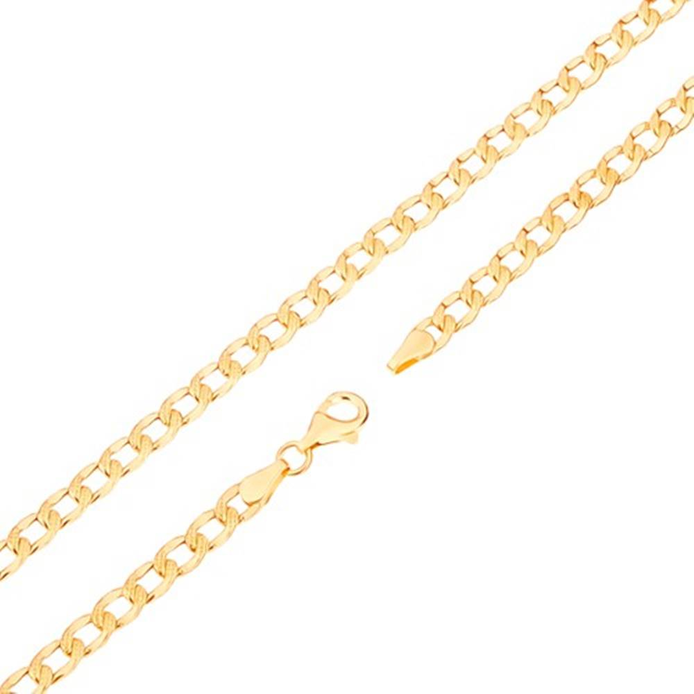Šperky eshop Retiazka v žltom 14K zlate - oválne články s gravírovanými bodkami, 500 mm