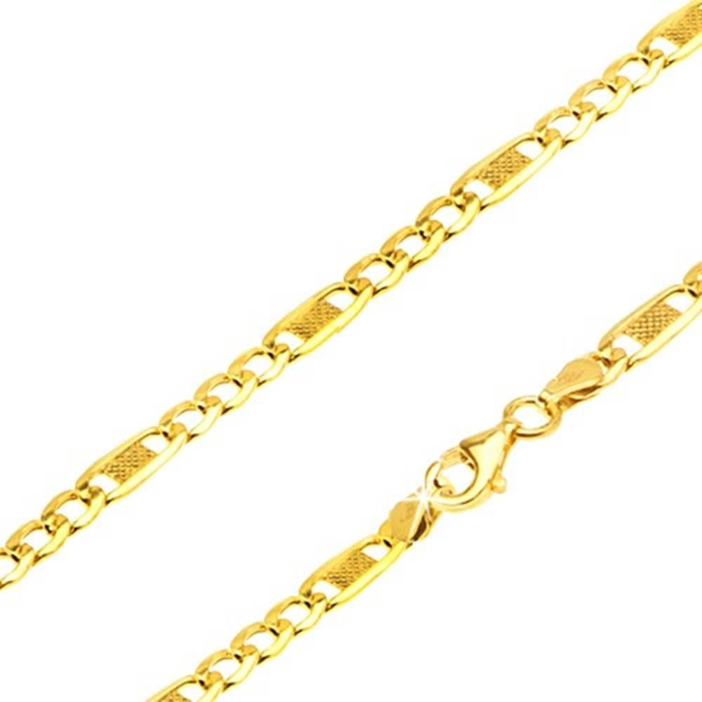 Šperky eshop Retiazka zo žltého 14K zlata, tri očká, dlhý článok s mriežkou, 450 mm