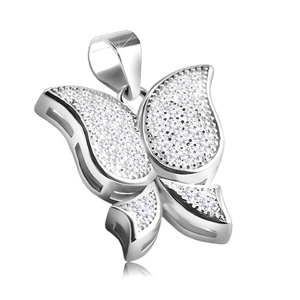 Šperky eshop Ródiovaný strieborný prívesok 925 v podobe motýľa, drobné číre zirkóny