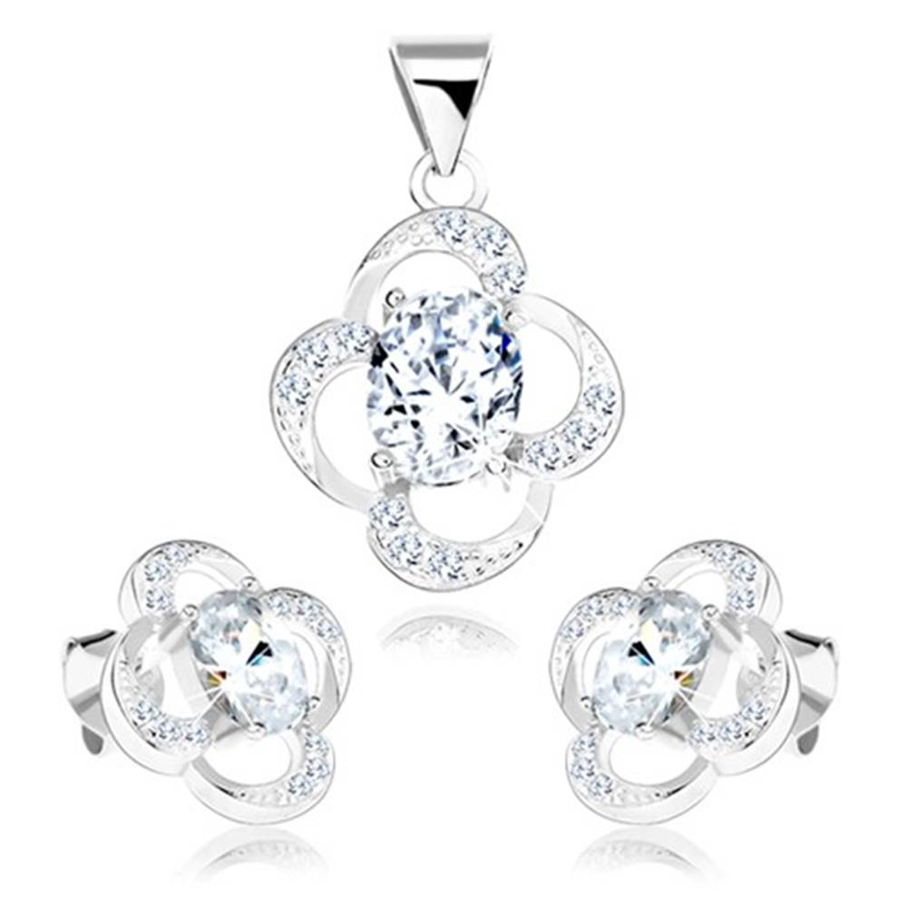 Šperky eshop Sada zo striebra 925, náušnice a prívesok, obrys kvetu, číry zirkón
