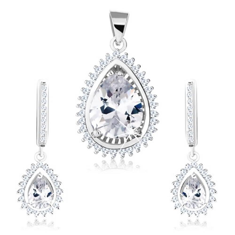 Šperky eshop Strieborný 925 set, náušnice a prívesok, zirkónová kvapka, ligotavý lem