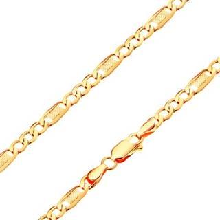 Náramok zo žltého 14K zlata - tri oválne očká a článok s mriežkou, 180 mm