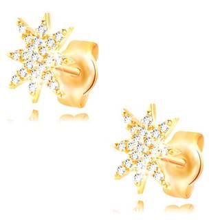 Náušnice zo žltého 14K zlata - ligotavá hviezdička zdobená čírymi zirkónmi
