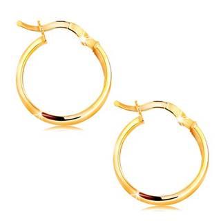 Zlaté náušnice 585 - kruhy s matným vyhĺbeným stredom, 19 mm