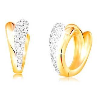 Zlaté okrúhle náušnice 585 - lesklé slzičky zo žltého a bieleho zlata, zirkóny