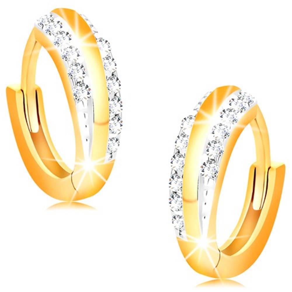 Šperky eshop Kĺbové náušnice zo 14K zlata - lesklé krúžky s líniami čírych zirkónov