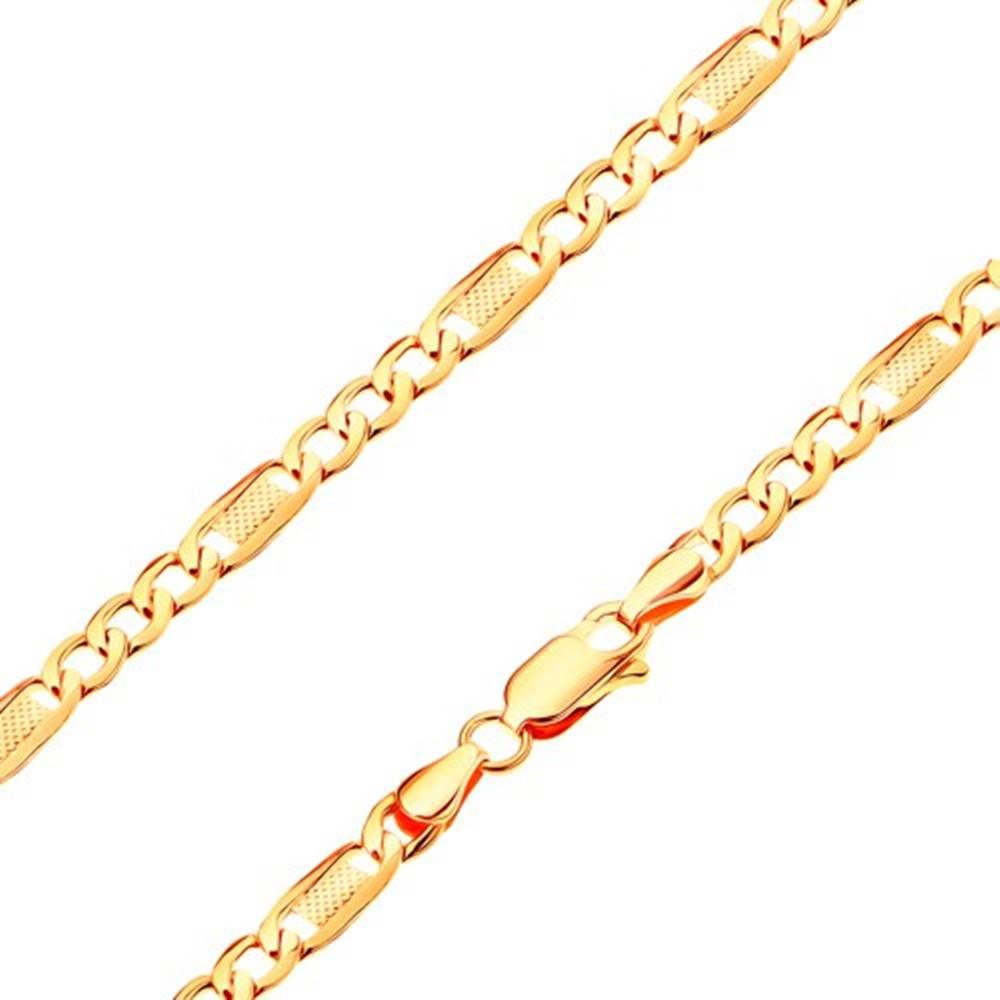 Šperky eshop Náramok zo žltého 14K zlata - tri oválne očká a článok s mriežkou, 180 mm