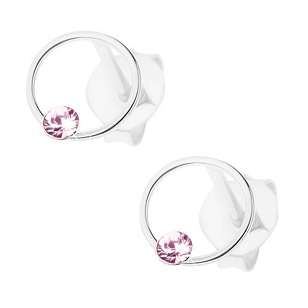 Šperky eshop Náušnice, striebro 925, krúžok, drobný krištálik Swarovski - svetlofialový odtieň