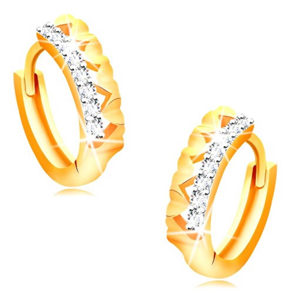 Šperky eshop Náušnice v 14K zlate - krúžky so srdiečkami a čírou zirkónovou líniou