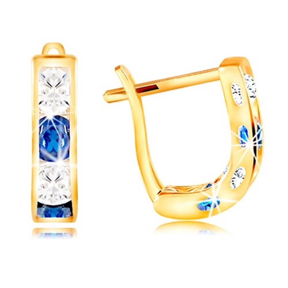 Šperky eshop Náušnice v žltom 14K zlate - oblúčik zo zirkónov čírej a modrej farby