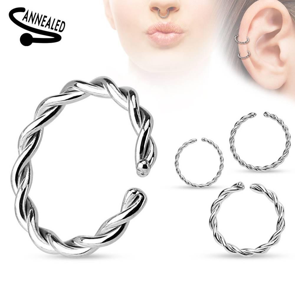 Šperky eshop Piercing do nosa alebo ucha, chirurgická oceľ, špirálovito zatočený krúžok - Hrúbka x priemer: 0,8 mm x 10 mm