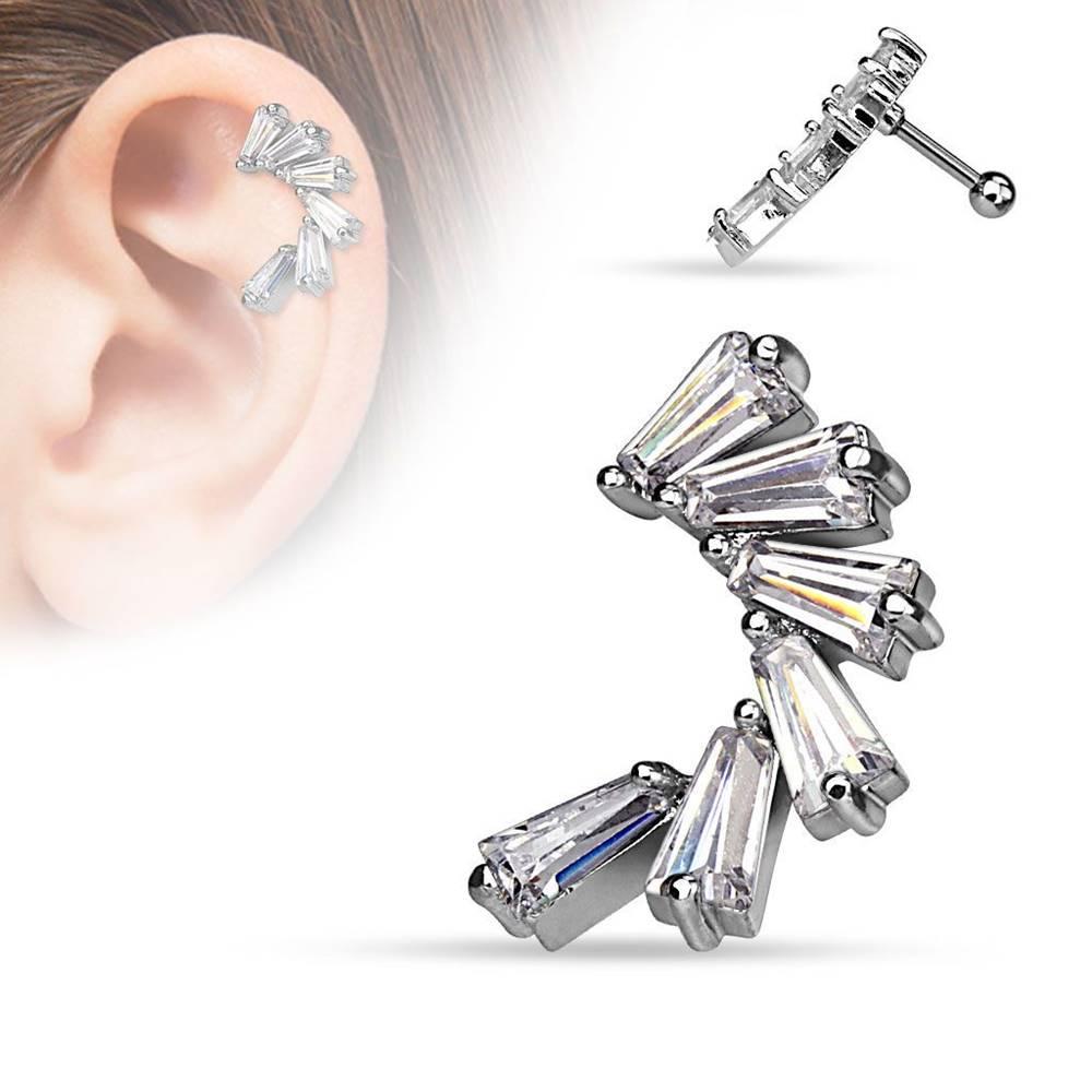 Šperky eshop Piercing do ucha z ocele 316L, oblúk z hranatých čírych zirkónov