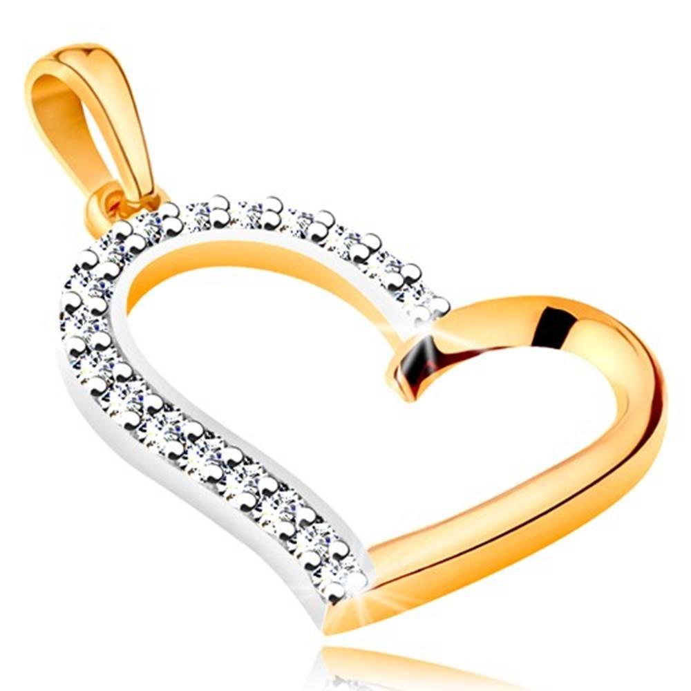 Šperky eshop Prívesok zo 14K zlata - nepravidelný obrys srdca so zirkónovou polovicou