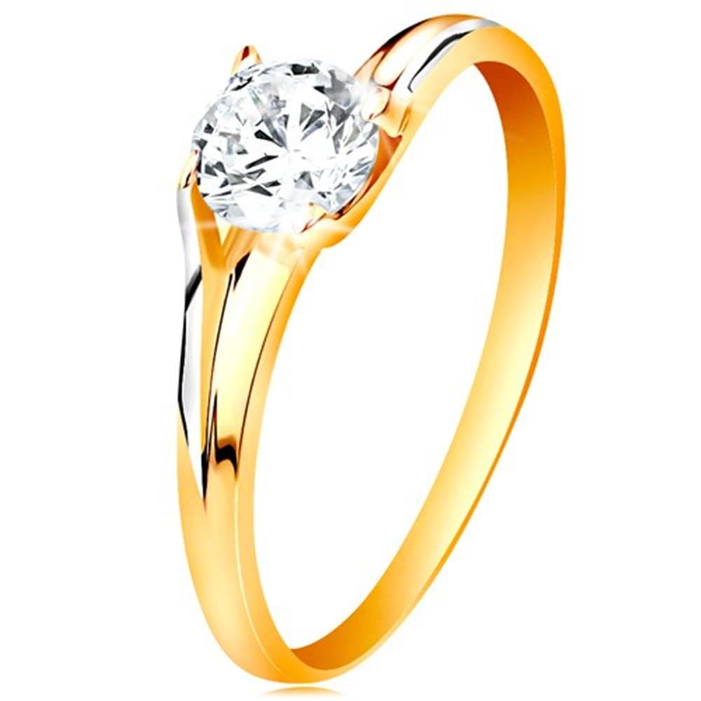 Šperky eshop Prsteň v 14K zlate - trblietavý číry zirkón v lesklom vyvýšenom kotlíku - Veľkosť: 49 mm