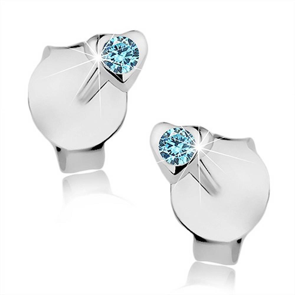 Šperky eshop Puzetové náušnice, striebro 925, lesklé vypuklé srdiečko, modrý krištálik