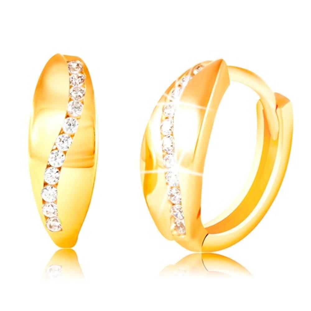 Šperky eshop Zlaté 14K náušnice - ligotavý zvlnený pás z čírych zirkónov