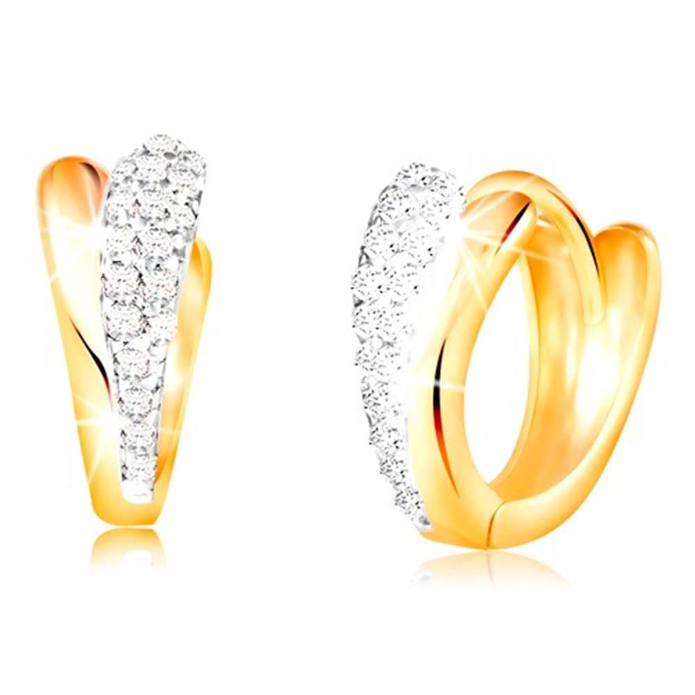 Šperky eshop Zlaté okrúhle náušnice 585 - lesklé slzičky zo žltého a bieleho zlata, zirkóny